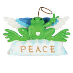 "Peace Frogs 3.25"" Resin Angel Figurine"