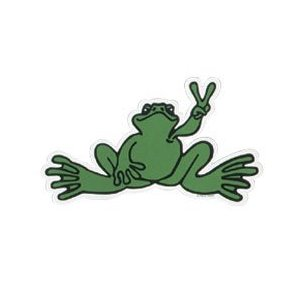 Peace Frogs Sm Green Sticker