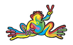Peace Frogs Retro Sticker