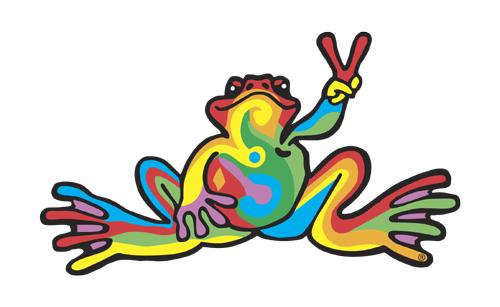 Peace Frogs Retro Sticker