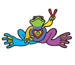 Peace Frogs Body Soul Spirit Sticker
