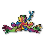 Peace Frogs Heart And Soul Sticker