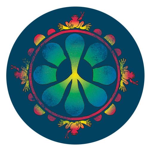 Peace Frogs Peace Flower Sticker
