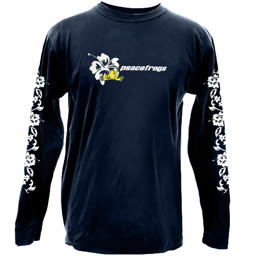 Peace Frogs Navy Hibiscus Adult Long Sleeve T-Shirt