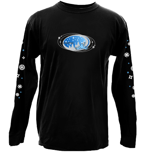 Peace Frogs Black Snowflake Oval Adult Long Sleeve T-Shirt