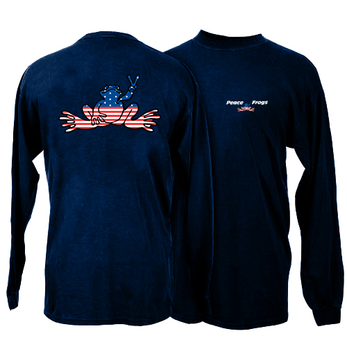 Peace Frogs Navy USA Kids Long Sleeve T-Shirt