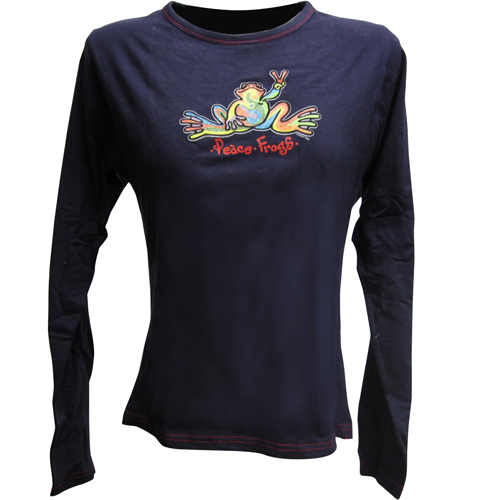 Peace Frogs Navy/R/Ed Stitch Retro Junior Long Sleeve T-Shirt