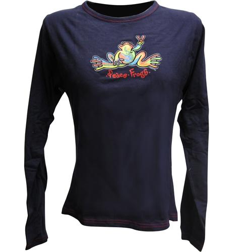 Peace Frogs Navy/R/Ed Stitch Retro Junior Long Sleeve T-Shirt
