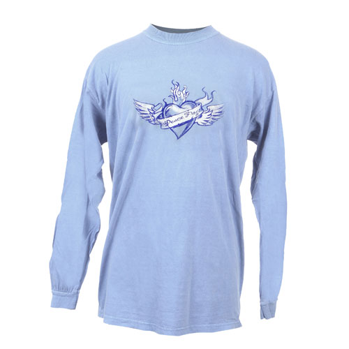 Peace Frogs Winged Heart Adult Long Sleeve T-Shirt