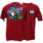 Peace Frogs Adult Firefighter Short Sleeve T-Shirt