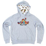 Peace Frogs Retro Embroidered Adult Hooded Pullover Sweatshirt