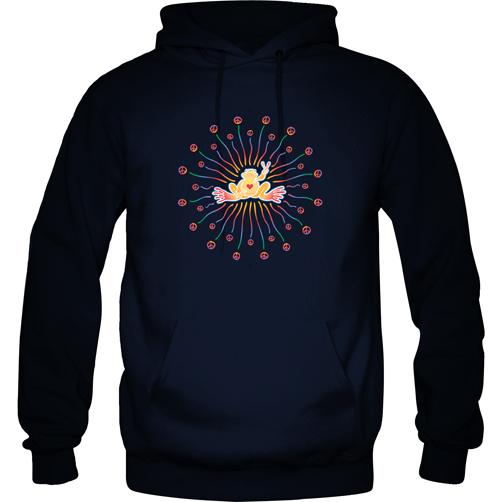 Peace Frogs Radiate Peace Printed Adult Hooded Pullover Sweatshirt
