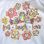 Peace Frogs Live Laugh Love Printed Junior Hooded Pullover Sweatshirt